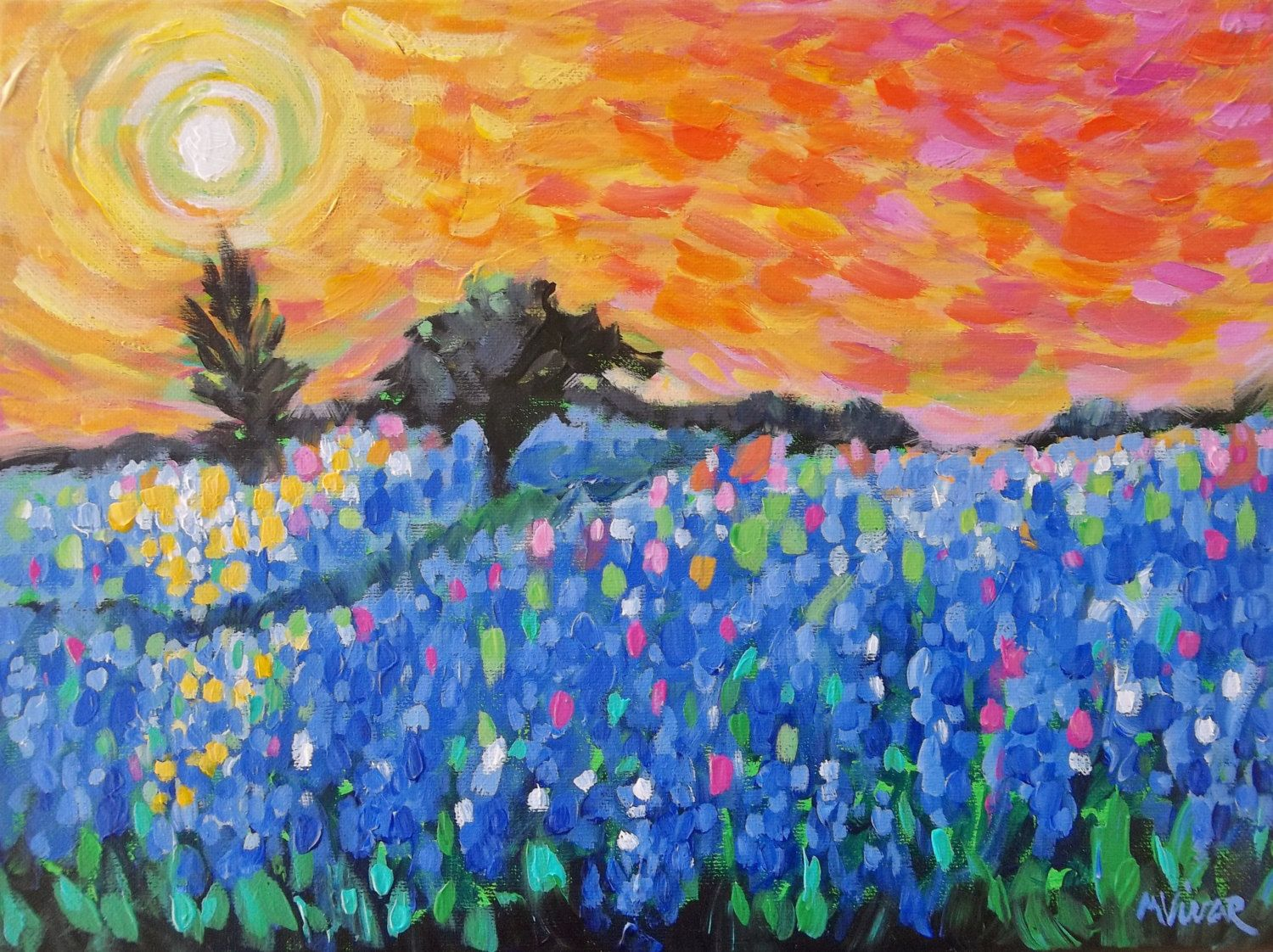 Watercolor artists in texas - Texas Bluebonnet Painting Art Original Impressionist Landscape Painting By Monavivarfineart On Etsy