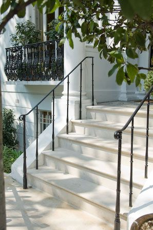 rod iron railings for exterior stairs. love the railing. examples of portland stone steps and doorsteps rod iron railings for exterior stairs