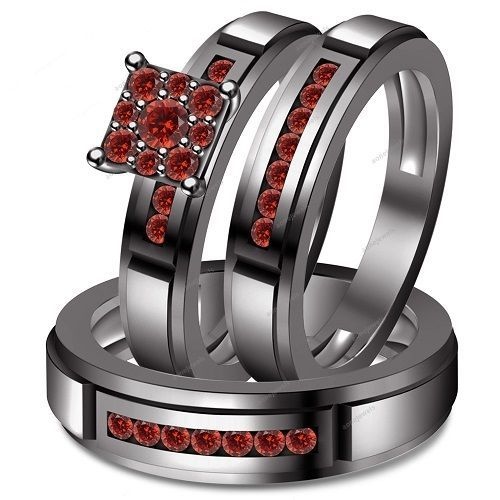 Red Garnet Silver Trio Set Wedding /Engagement Rings Bridal Ring His And Her #aonejewels