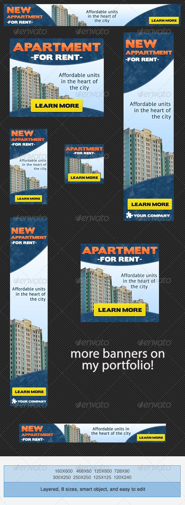 Real Estate Apartment Banner Ad Pinterest Web Advertisement - For rent advertisement template