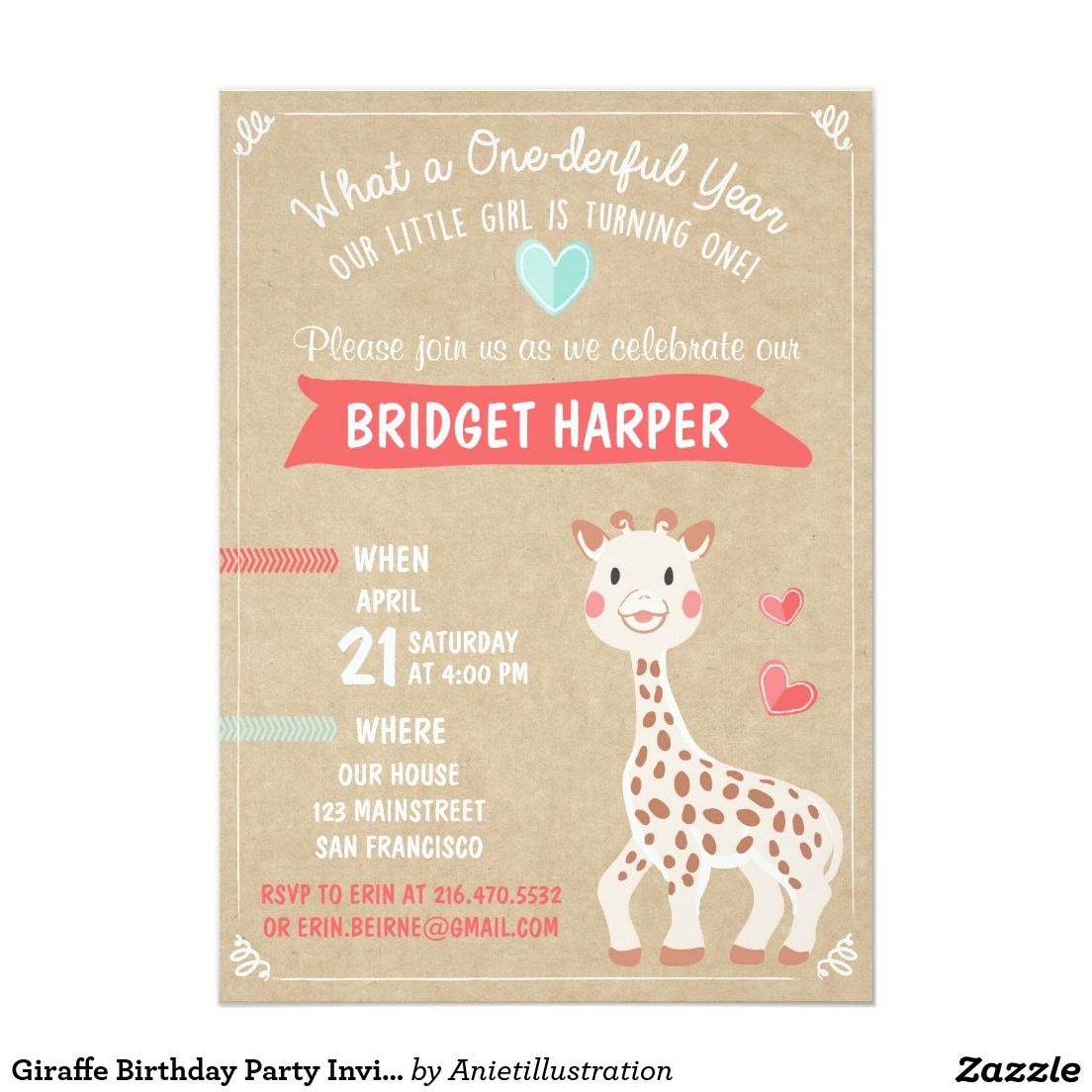 Giraffe Birthday Party Invitation First Birthday | Giraffe ...