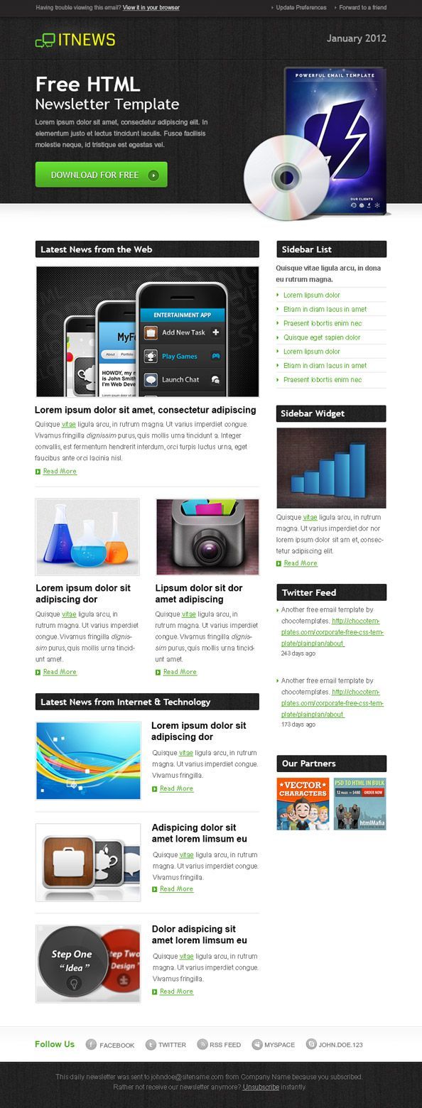 Free Html Newsletter Template #email #newsletter #free | Email ...