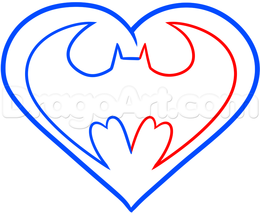 How To Draw A Batman Heart Step 4 Fathers Day Crafts Pinterest