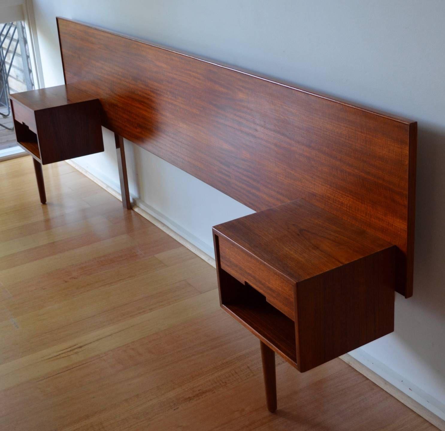 Retro Mid Century Danish Modern Teak Queen Bed Head Bedside Tables