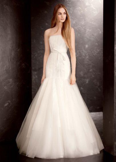 Popular  White by Vera Wang Sequin Organza Wedding Dress VW