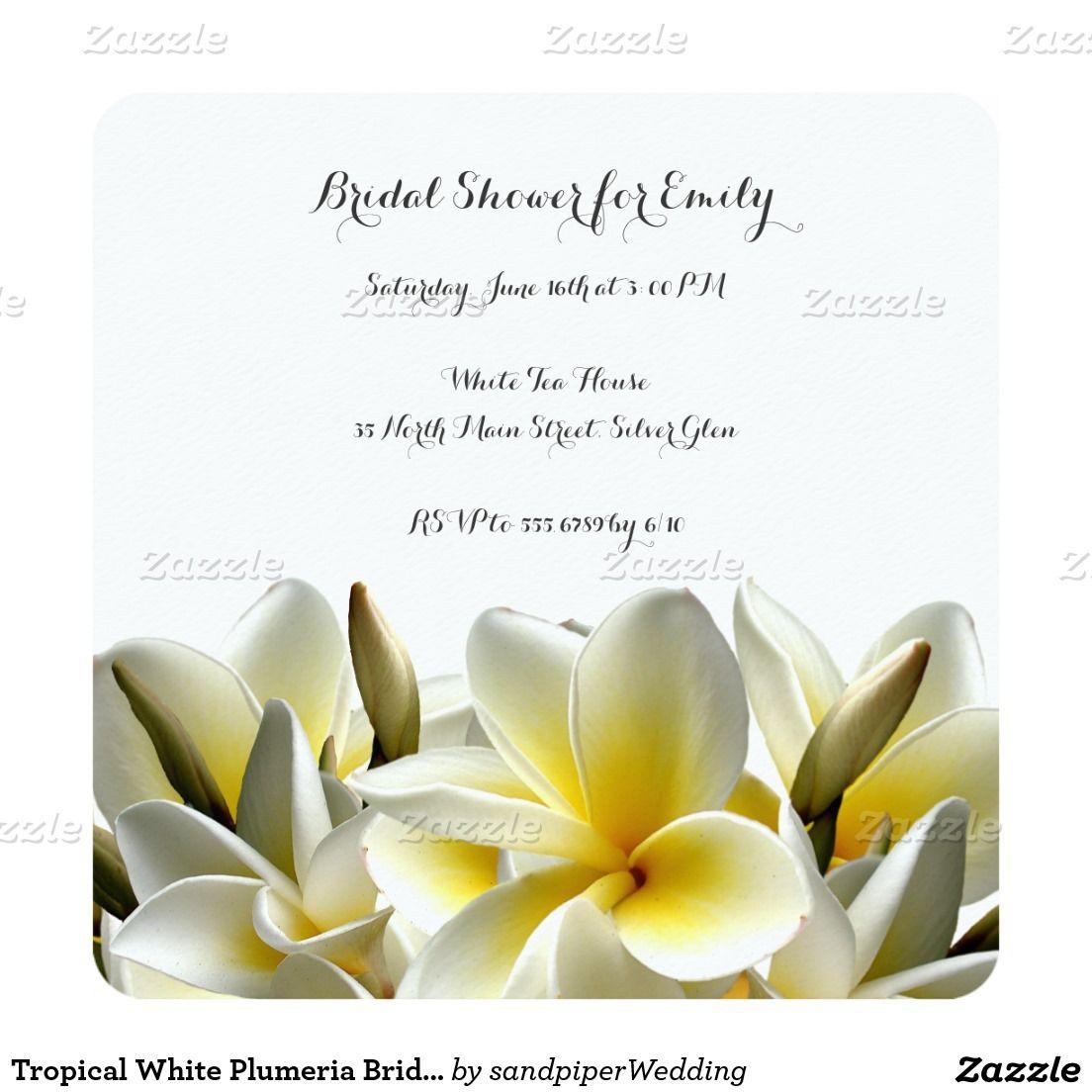 Tropical White Plumeria Bridal Shower Invitation | wedding shower ...