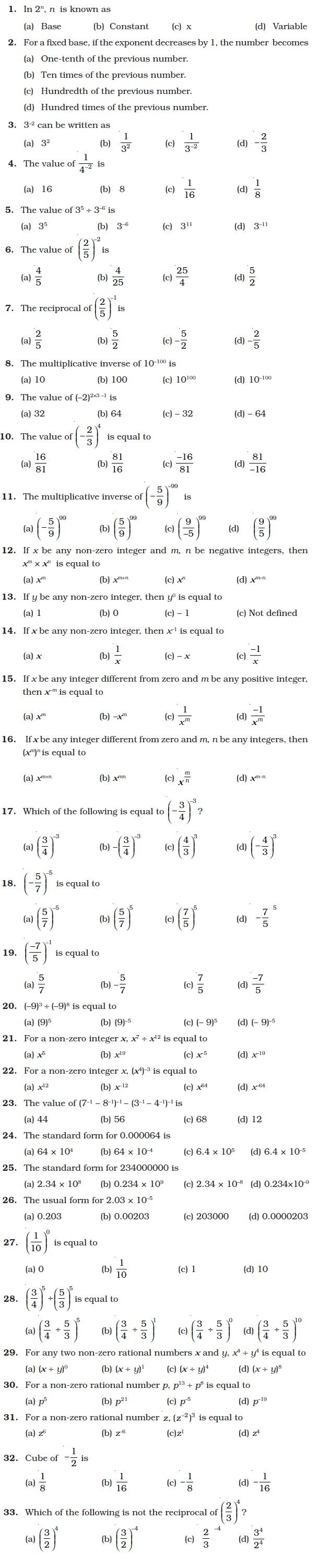 hight resolution of Class 8 Important Questions for Maths – Exponents and Powers   Exponents