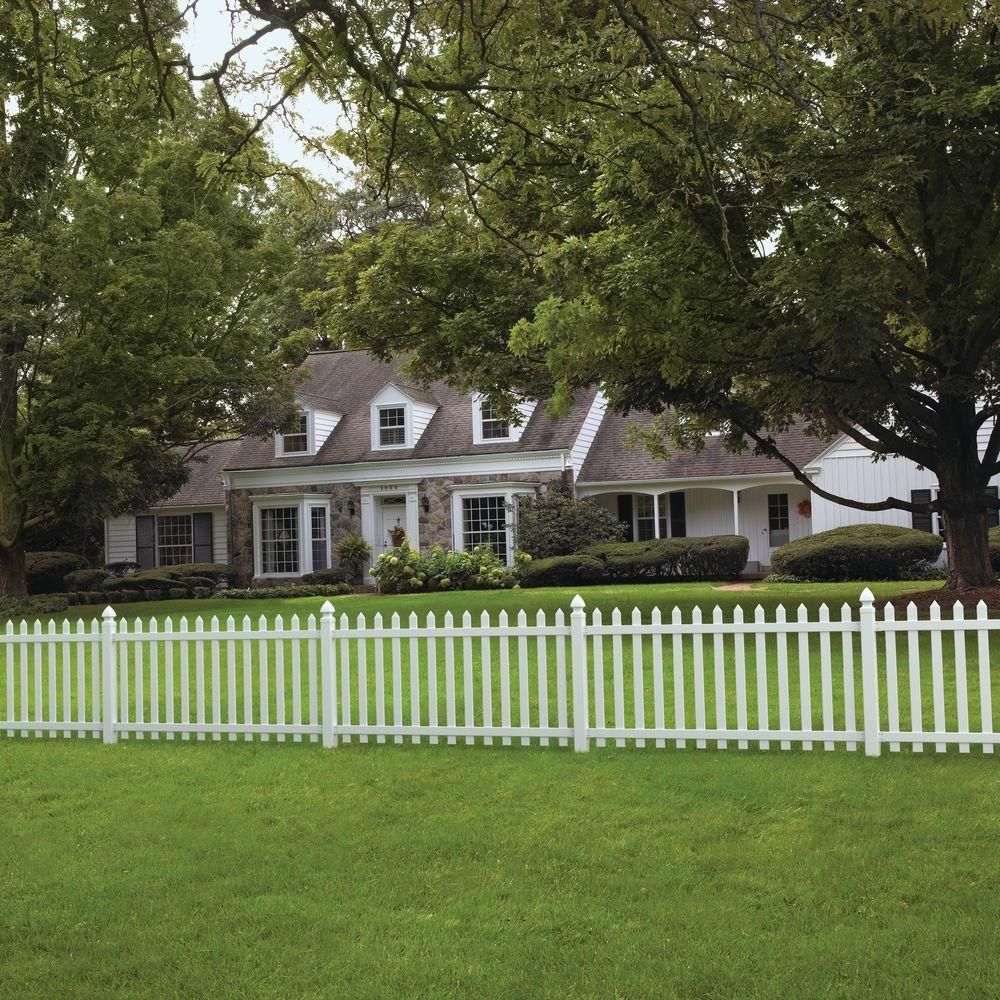 Veranda Glendale 4 Ft H X 8 Ft W White Vinyl Spaced Picket Fence Panel With Pointed Pickets 128004 Picket Fence Panels Fence Panels Vinyl Fence Panels