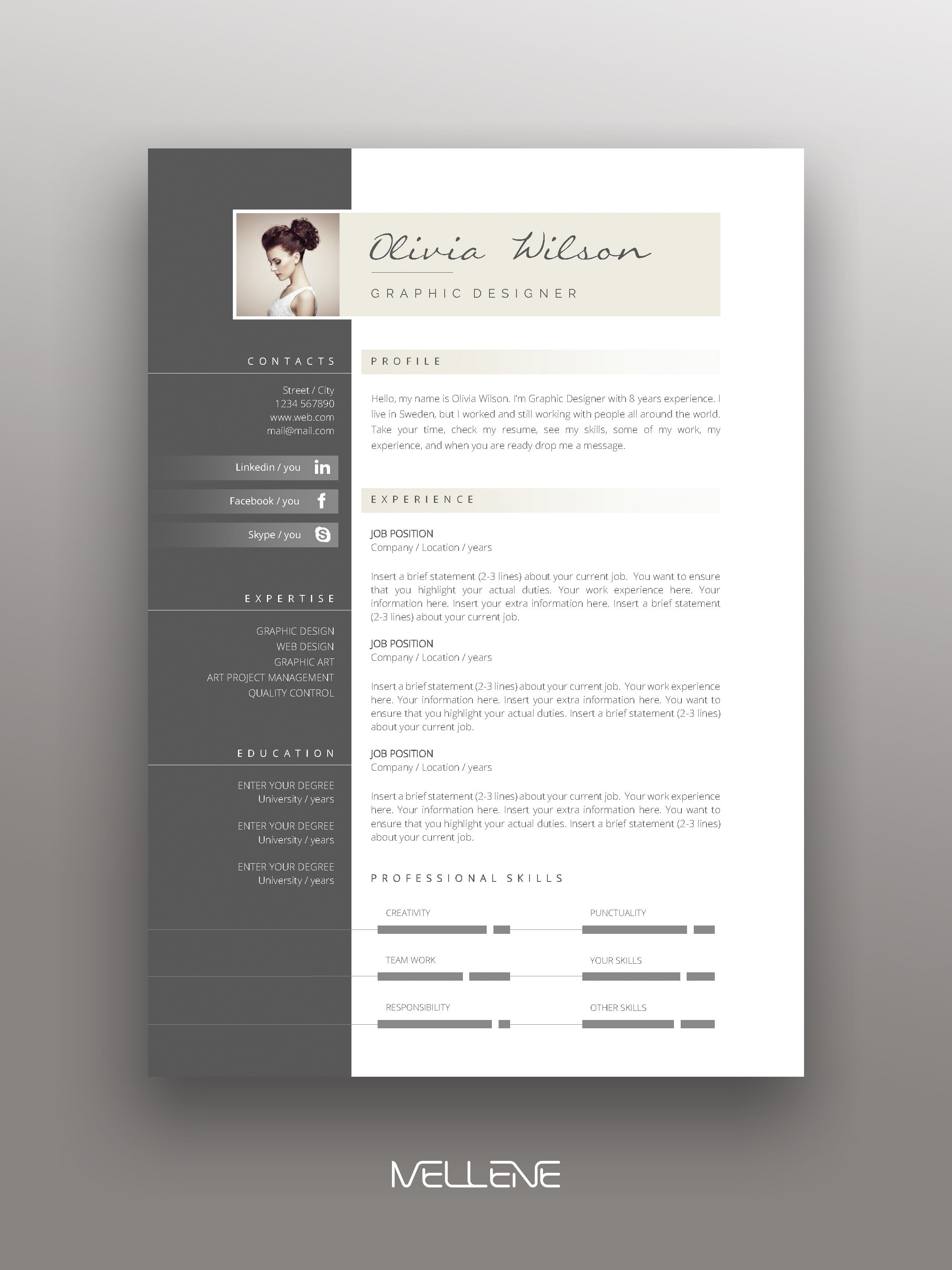 Resume Template 3 Page Cv Template Cover Letter Instant