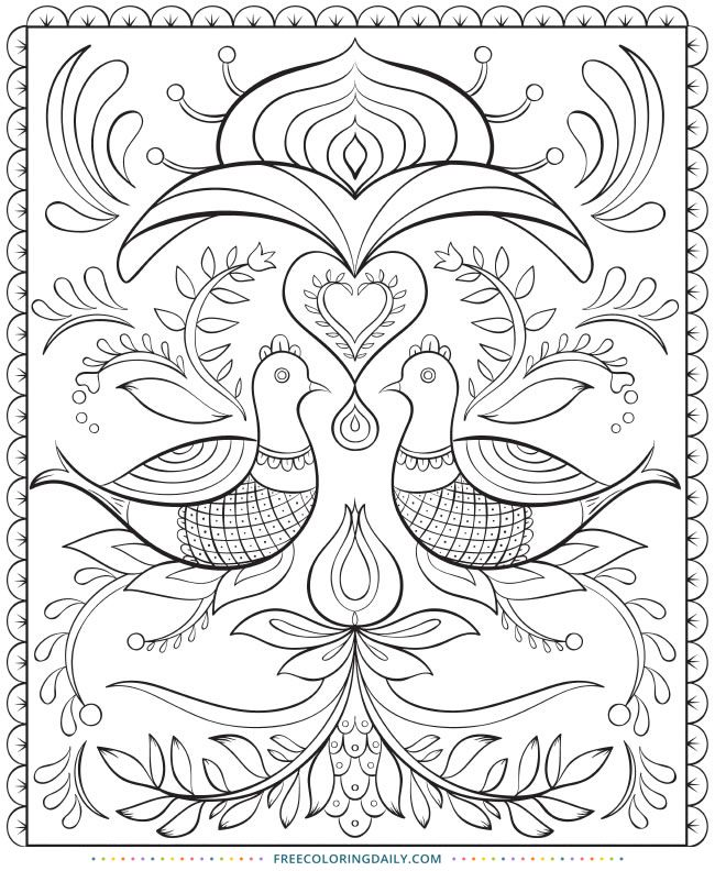 Folk Art Coloring Books : coloring, books, Coloring, Pages, Adults