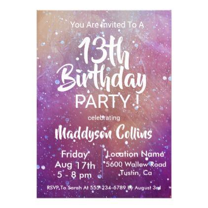 Purple Galaxy Stars Birthday Party Invitation Zazzle Com In 2021 Star Birthday Party Birthday Party Invitations Party Invitations