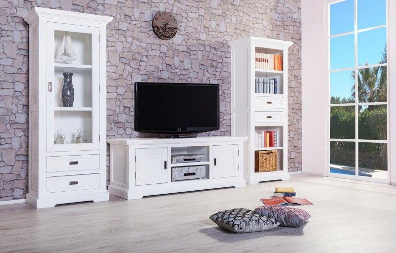 Wohnwand Olympia - Akazie massiv - weiß - gebürstet \ lackiert - wohnzimmermöbel weiß landhaus