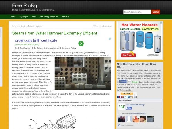 Steam From Water Hammer Extremely Efficient