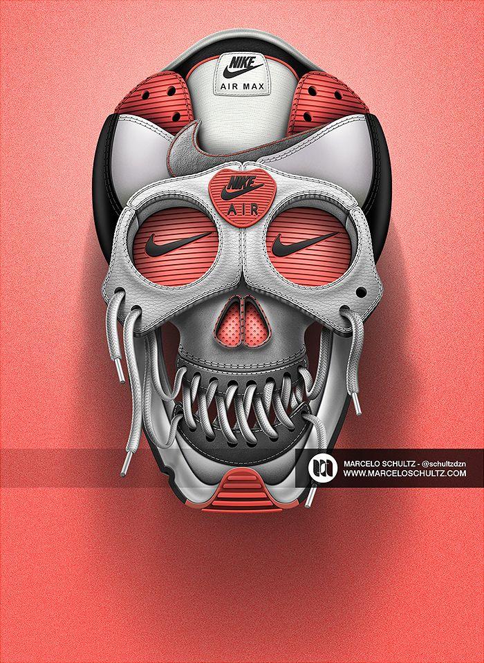 Nike Air Max T-shirt Conception De Crâne