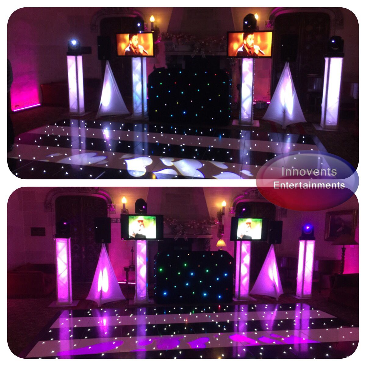 Black And White Themed Led Dance Floor To Sparkle For A Wedding With Our Video Dj And Moving Head Lighting Set Dj Equipment For Sale Wedding Dj Setup Led Dance