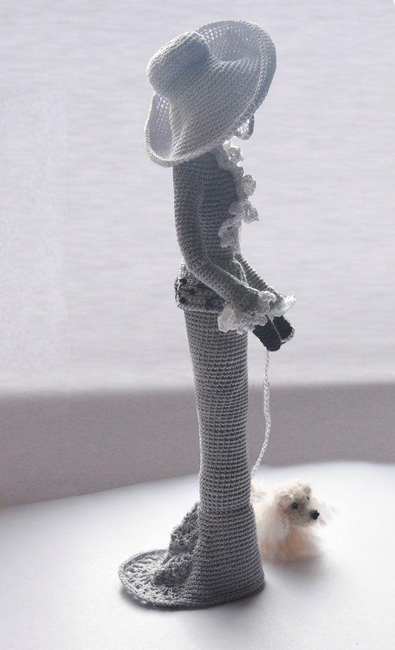 Muñeca elegante arte elegante en estilo retro. Señora con un perrito ...