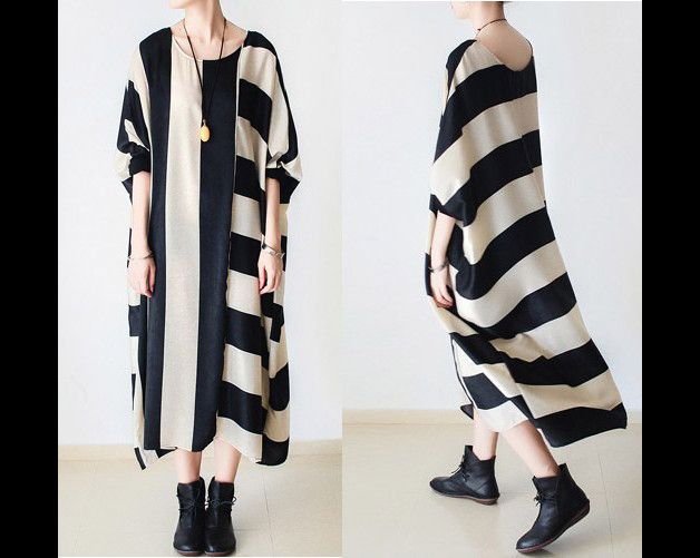Black and white striped loose fitting maxi dress