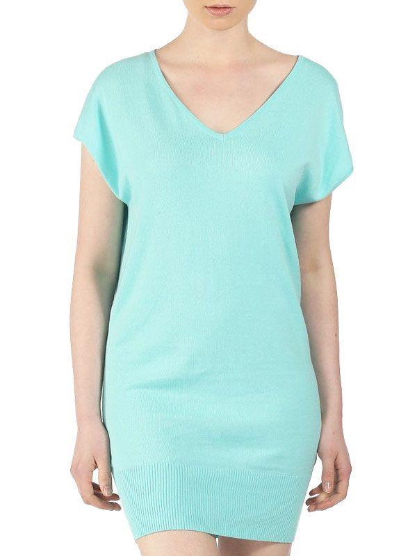 Robe pull bleu turquoise