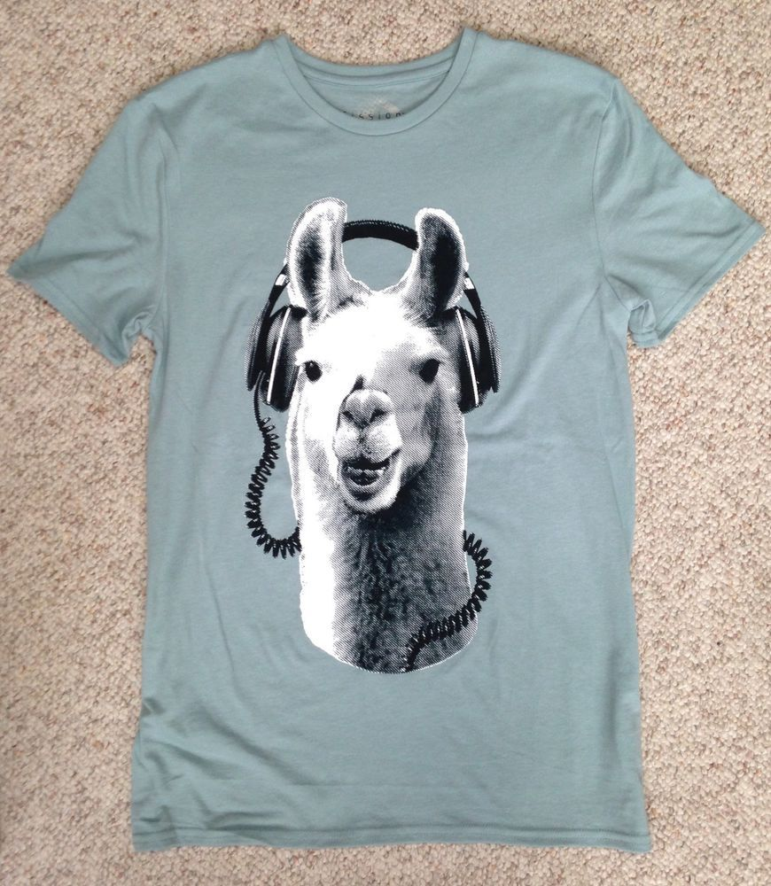 280806311 New (Adult Small) LLAMA WEARING HEADPHONES T-SHIRT Funny Music Animal Face  Humor #Fission #GraphicTee