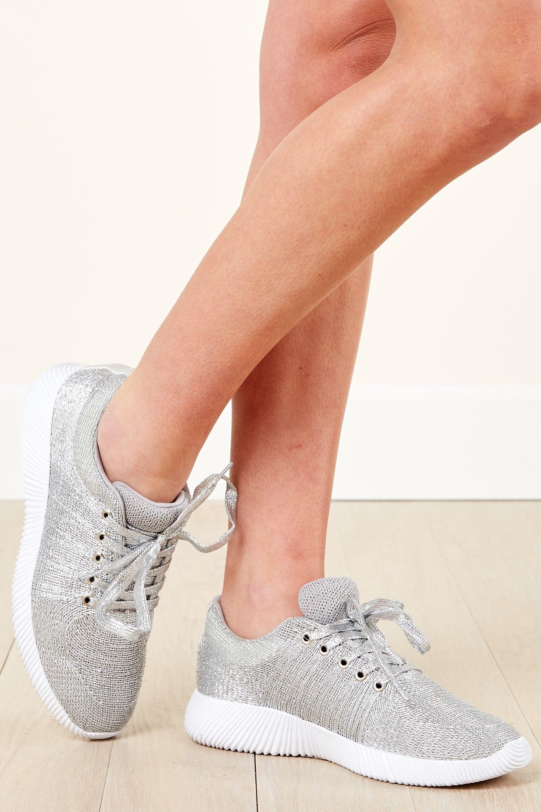 Sole Seeker Metallic Silver Sneakers at reddressboutique.com