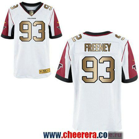 Men's Atlanta Falcons #93 Dwight Freeney White With Gold Stitched NFL Nike Elite Jersey