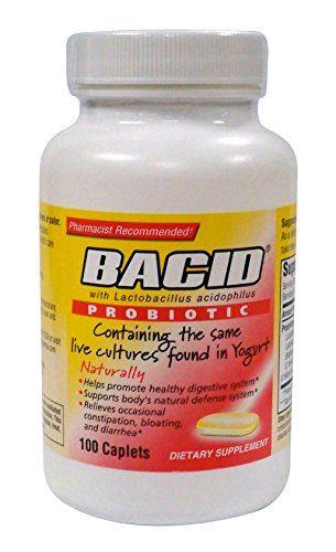 Bacid with Lactobacillus Acidophilus, Probiotic, 100-Caplets Bottles