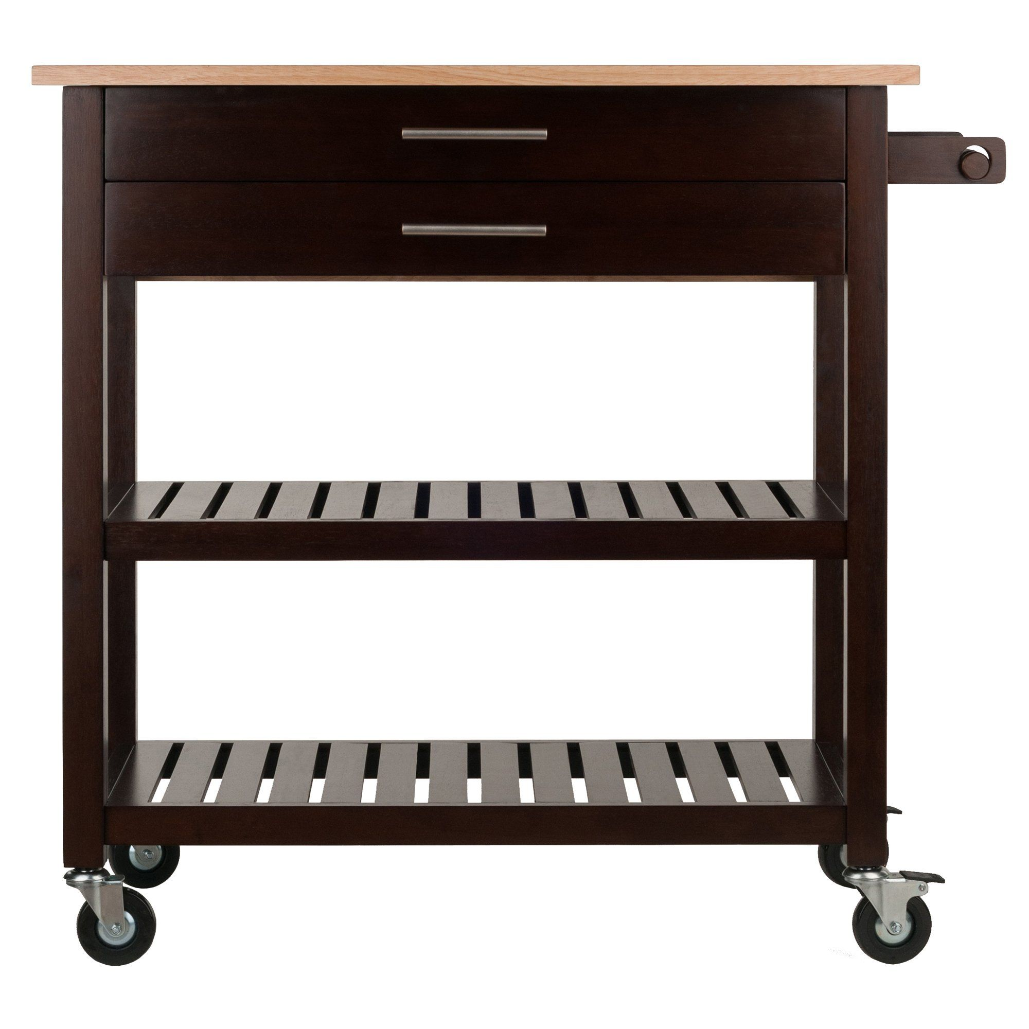 Winsome Wood 40826 Langdon Cart Kitchen Cappuccino Natural You