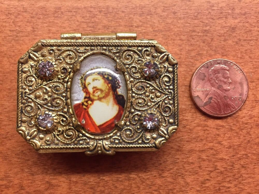 Vintage Ornate Snuff Box Religious Jesus Heart filigree Vanity Pill Rhinestone    eBay