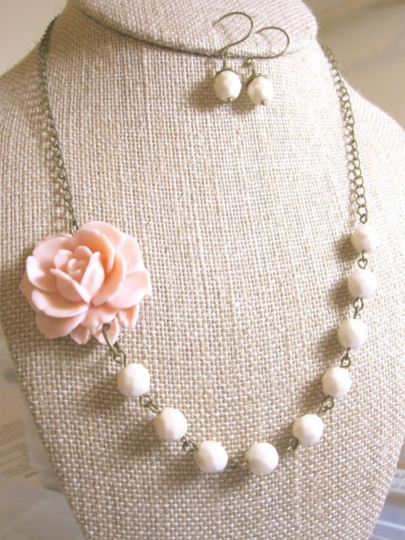 Peach Wedding Jewelry Set Peach Wedding Jewelry Bridesmaid Gift Peach Bridesmaid Jewelry Bridal Shower GIft Peach Pearl Necklace