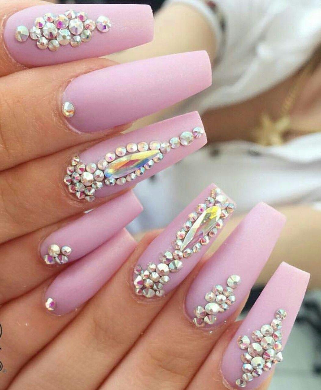 Yakelin A Nails - lavender pastel purple rhinestone #nails ...
