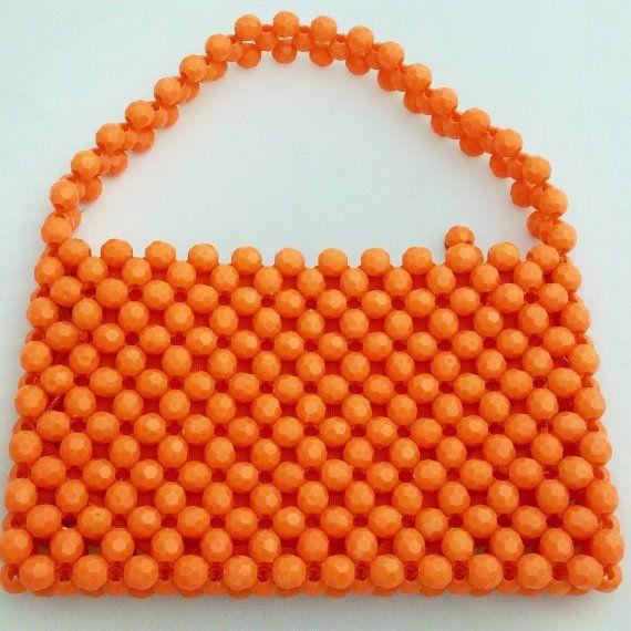 Vintage Orange Beaded Bag Top Handle Purse Funky Orange Handbag Small Purse