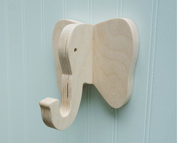 Kids Room Wall Hook Elephant In Birch Playful
