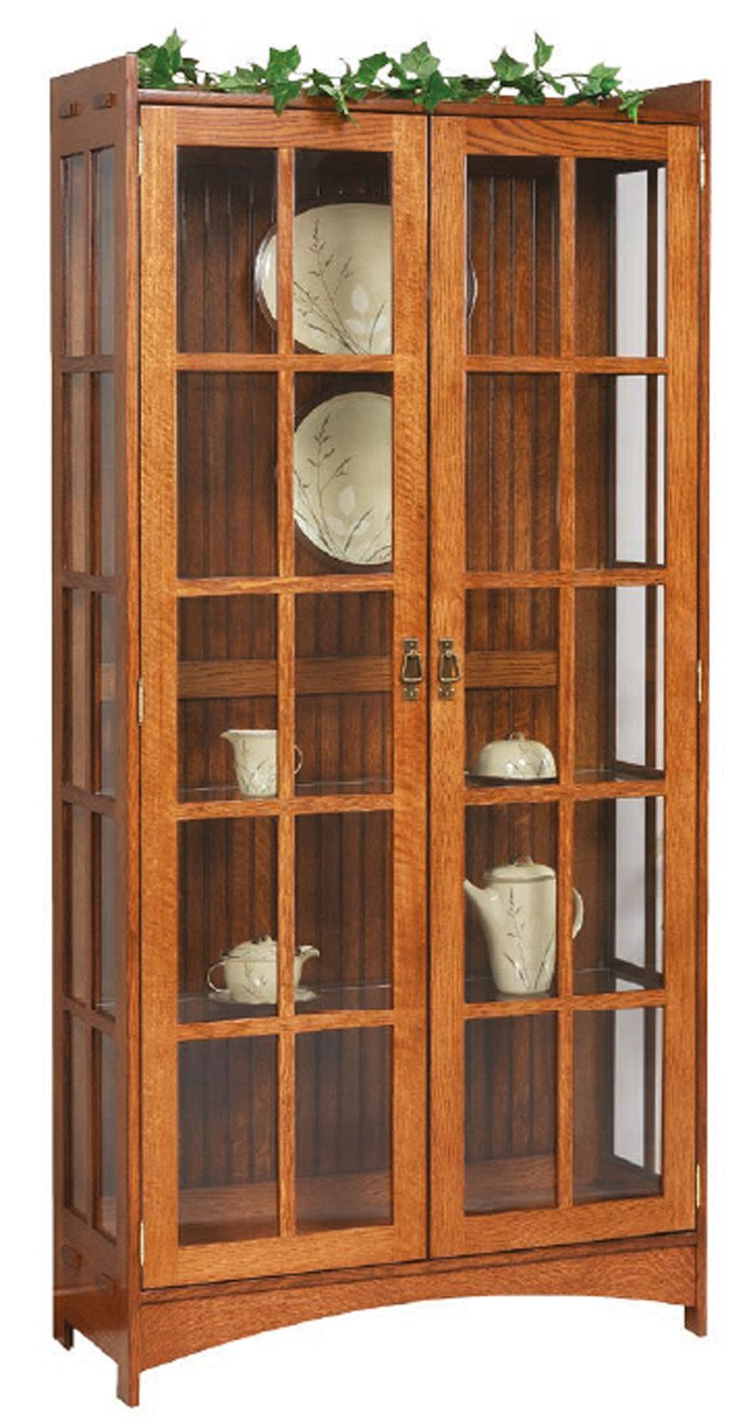 Strong Sturdy Hand Crafted Amish Made Furniture Curio Cabinet Mission Style Furniture China Cabinet Display