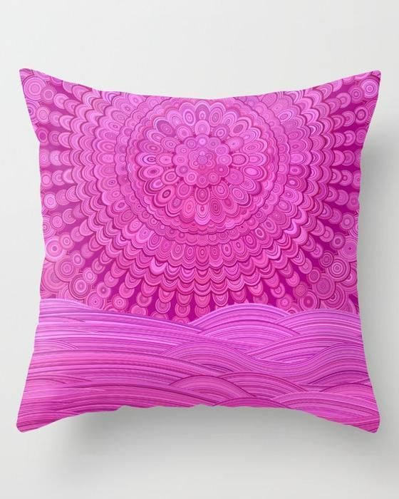 Cosy Bedroom Hot Pink Ocean Mandala Throw Pillow by David Zydd | hot pink pillow bedroom #MandalaPillow #giftforher #pink #ocean #sea #sunset #mandala #pillow #cushioncover #throwpillows #room #homedecor #decor #bohostyle #bohemian #floral #floralmandala #abstract #gift #christmasgifts #CosyBedroom #ModernBedroom #IndustrialBedroom