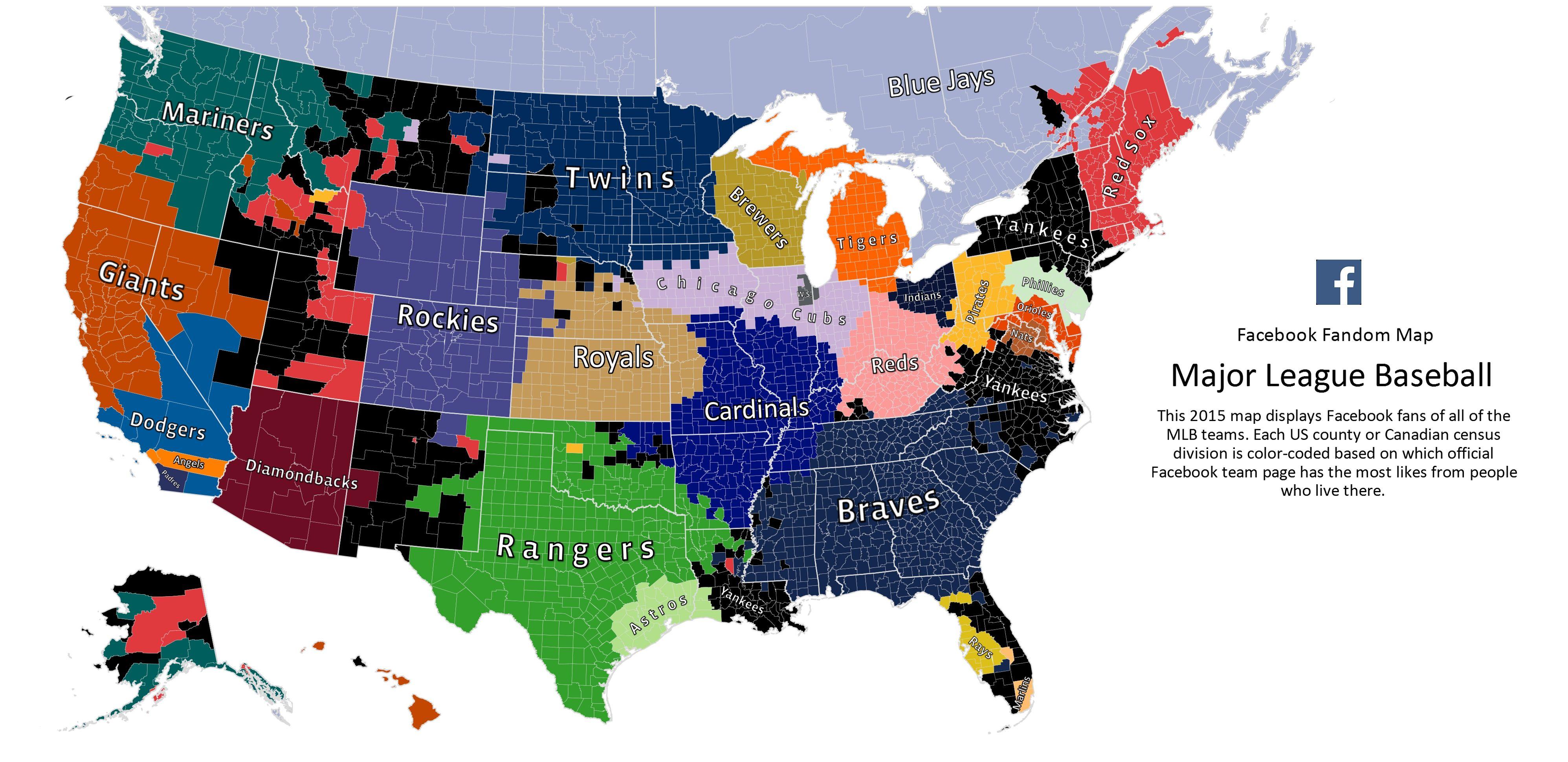 Here Is Every U S County S Favorite Baseball Team According To Facebook Mlb Teams Mlb Baseball Team