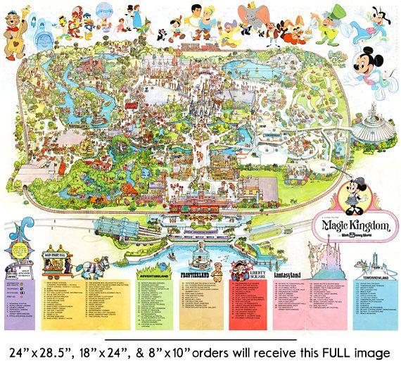 Vintage 1979 DISNEY WORLD Park Map Poster 24 x 36 or in 2019 ...