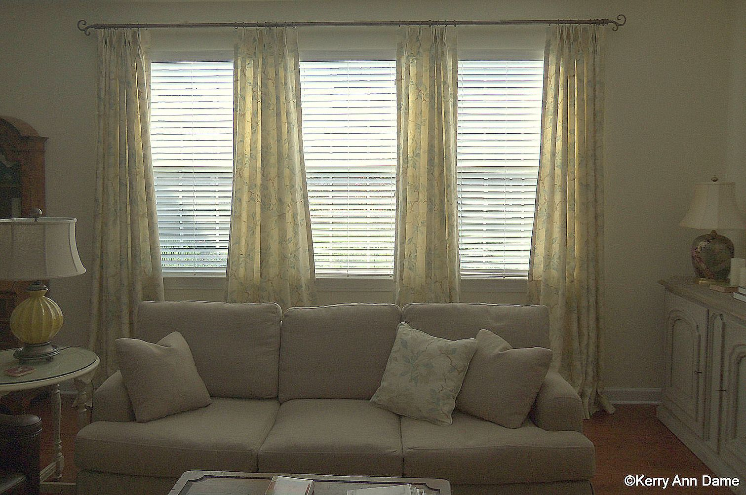 Soft Printed Line Panels On A Triple Window Living Room Windows Window Treatments Living Room Farmhouse Window Treatments