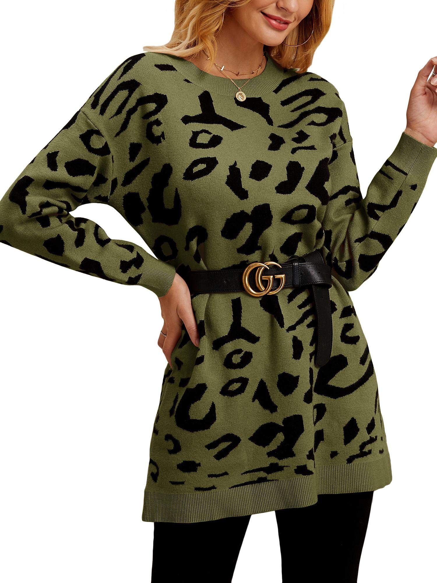 Tutorutor Womens Leopard Print Sweater Dresses Oversized Crew Neck Long Sleeve Loose Fit Chunky Knit Jumper Pullovers #chunkyknitjumper Tutorutor Womens Leopard Print Sweater Dresses Oversized Crew Neck Long Sleeve Loose Fit Chunky Knit Jumper Pullovers #Affiliate #chunkyknitjumper