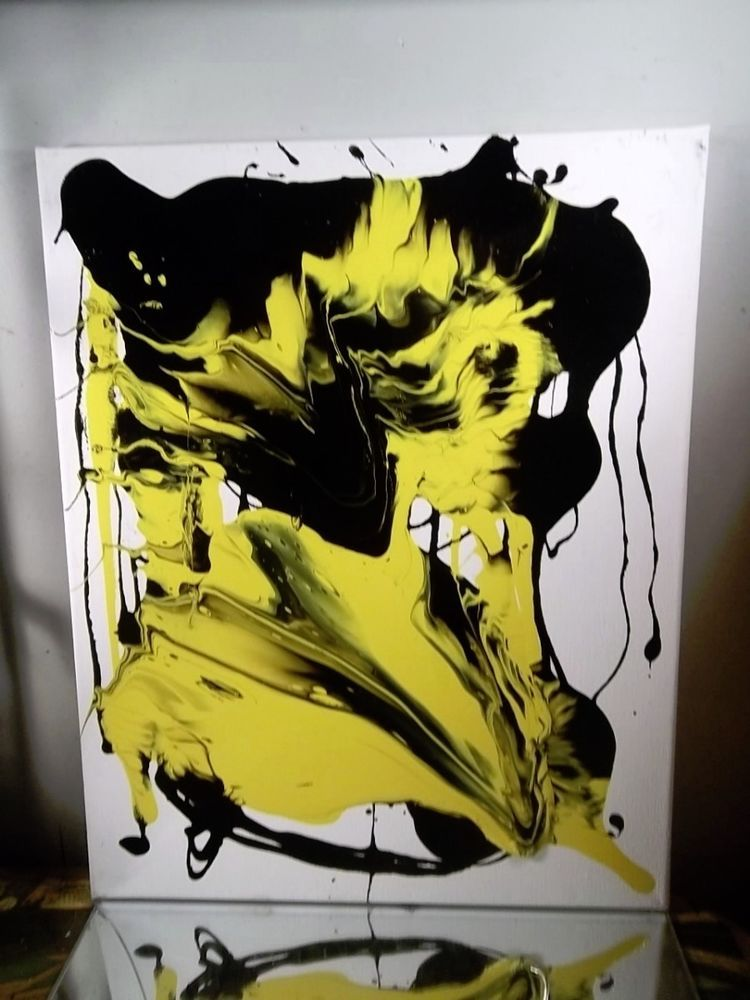 CANVAS PAINTING BY MUSK YAI 16X20 ABSTRACT FINE ART POP ART BLACK AND YELLOW  #Abstract