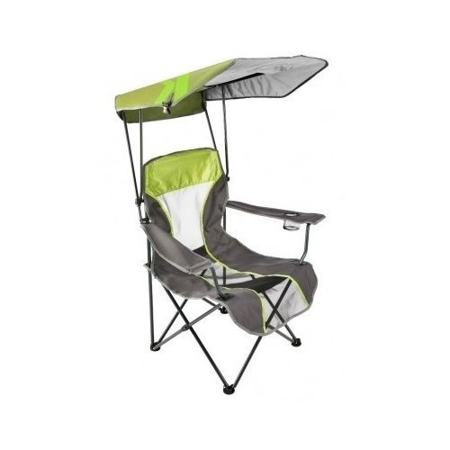 Canopy Camping Chair Sun Shade Shelter Folding Lime Gray Outdoors Beach Seat