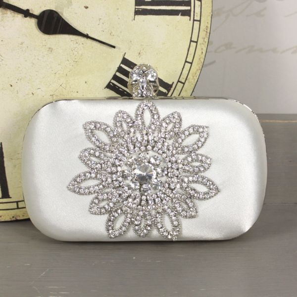 Ivory Satin Clutch Purse with Crystal Flower