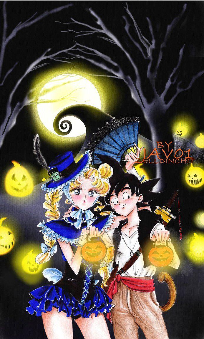 usagi and goku halloween town by zelldinchit on deviantart