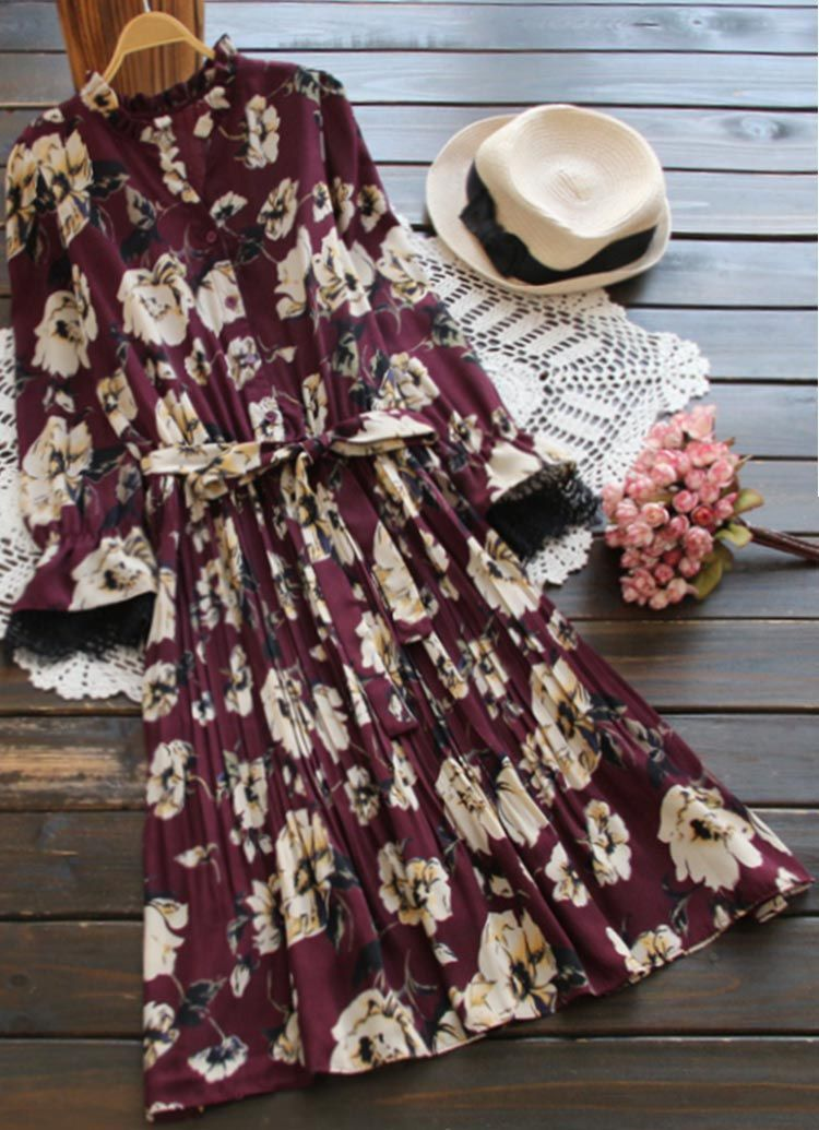 Ruffle fall style to get with free shipping&easy refund! This floral midi dress is so elegant detailed with waist belt, lace cuff&button down design! Hold this beautiful day with Cupshe.com