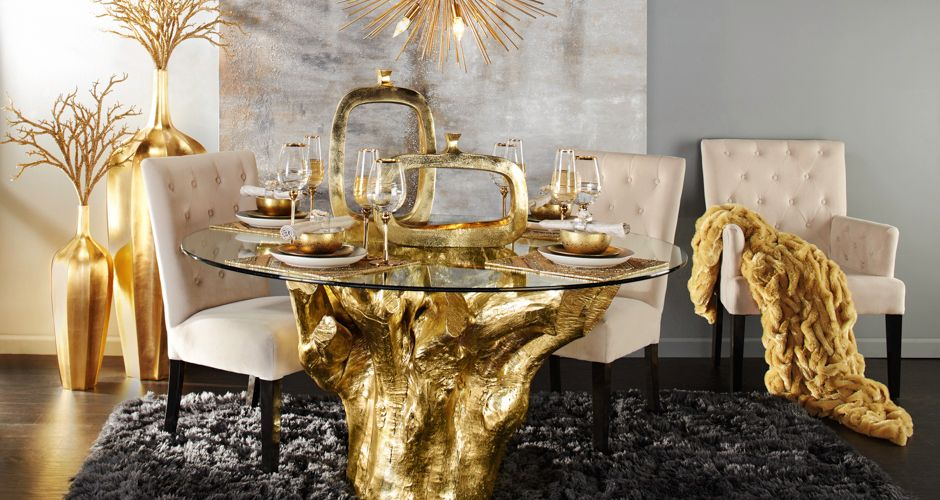 Dining Room Inspiration Gold Sequoia Z Gallerie With Images Glamourous Dining Room Dining Table Gold Gold