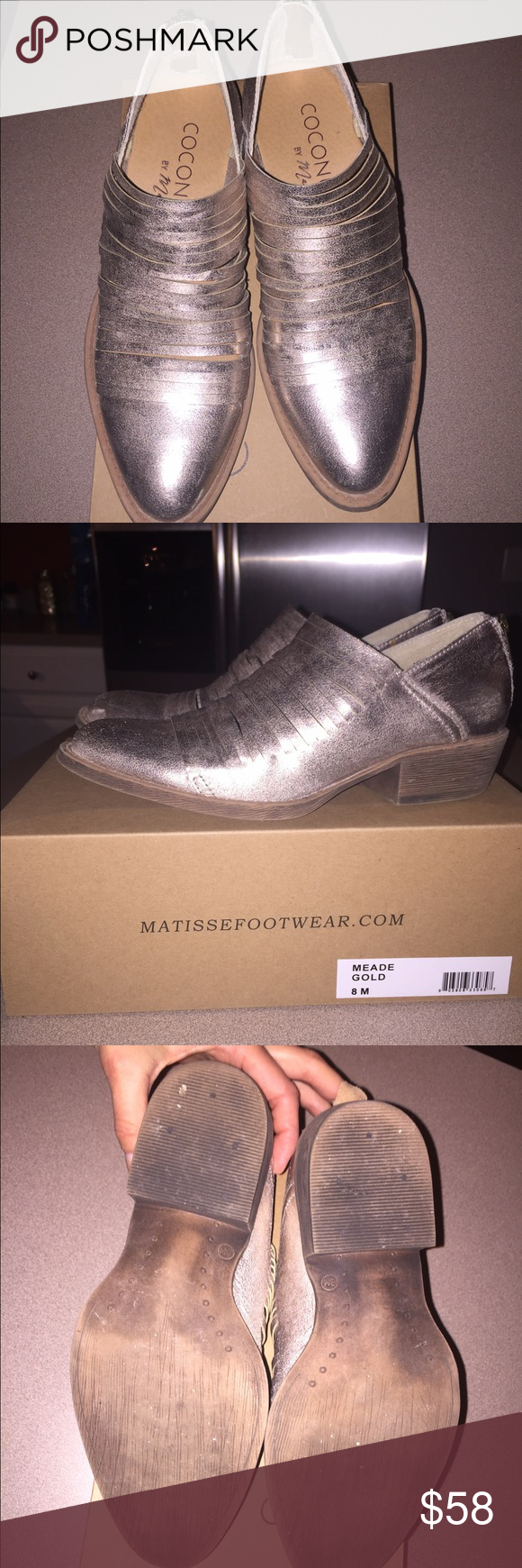 Coconuts By Matisse Gold Meade Booties Size 8 These booties are true to size/a tad small (I typically wear 8-8.5 and the 8 fits great). Super cool look and comfortable! Only worn a few times, in great condition. Comes with original box. Coconuts by Matisse Shoes Ankle Boots & Booties