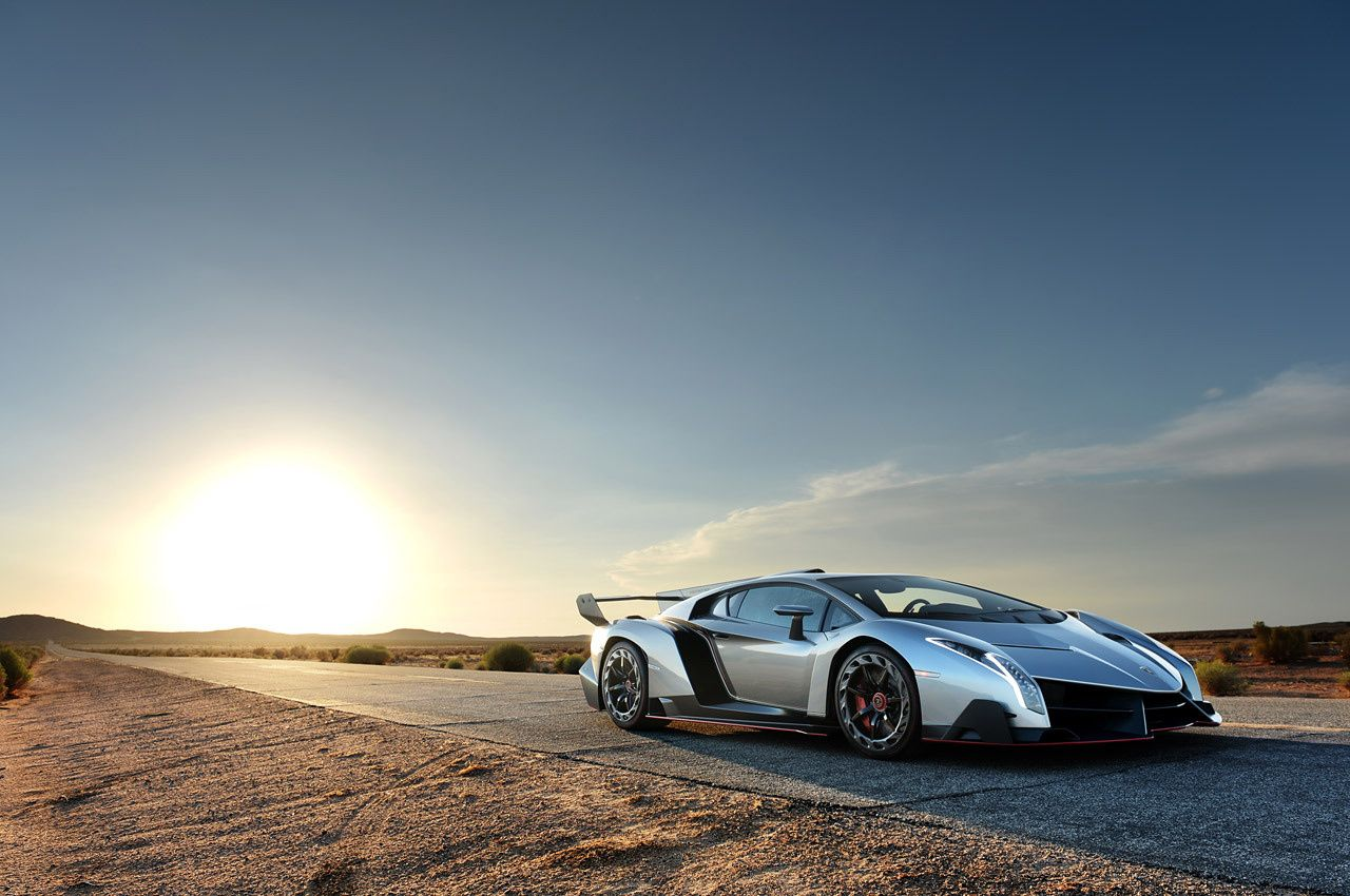 Lamborghini Veneno On The Road In Desert Right Side Front View Sunset  Background