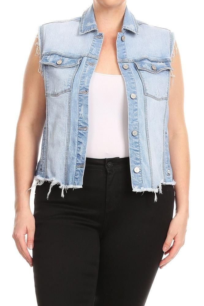 046c5a02 Salt Tree Women's EnJean Plus Size Asymmetric Cropped Vest With Uneven  Frayed Hem, US seller