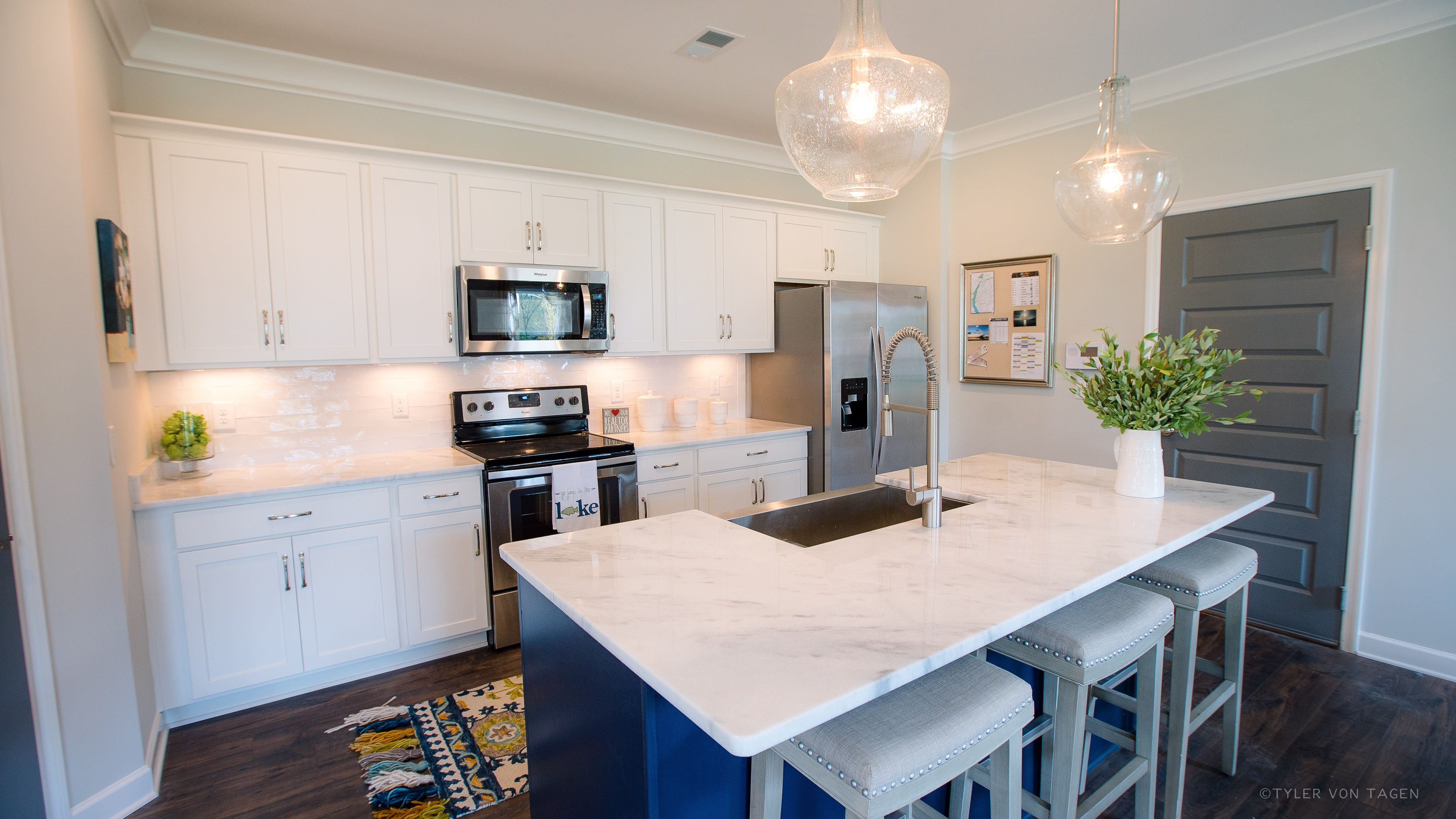 White Navy Cabinets With Shadow Storm Quartzite Kitchen Design Decor Custom Kitchen Cabinets Navy Cabinets