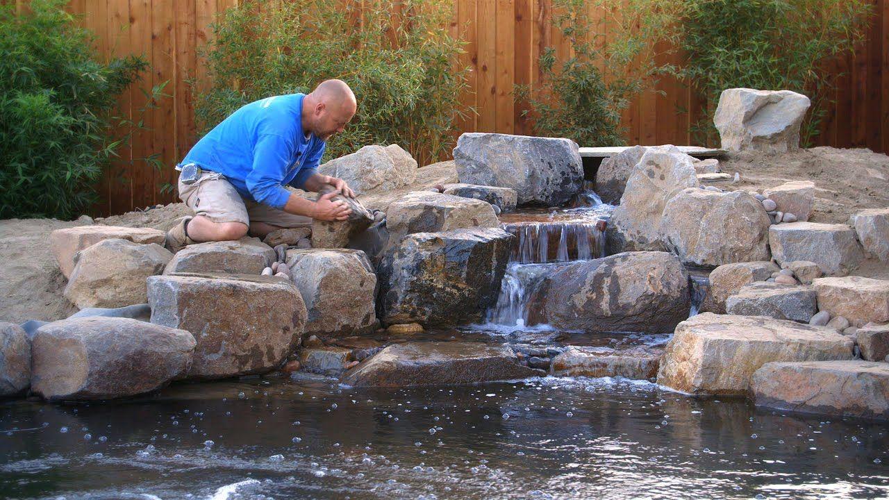 Detailing The Waterfalls Spillways Kp 55 Koi Pond Backyard Water Fountains Outdoor Pond Construction