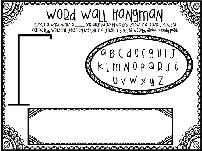 Word Wall Hangman FAN FREEBIE FOLLOW